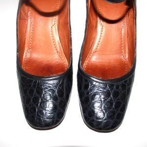 Givenchy Shoes - Givenchy Vintage Crocodile Square Toe Mary-Janes